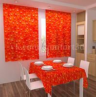 Фото шторы в кухню Красная икра