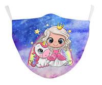 Маска для девочки с принцессой. Защитная маска из ткани с красивым принтом Принцесса для ребенка.