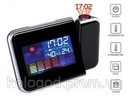 Цифровий Годинник настільні Метеостанція з Проектором Сolor Screen Calendar 8190