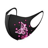 Стильная защитная маска с бабочками. Удобная красивая маска от вирусов для девушки.