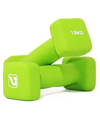 Гантели неопреновые LiveUp Square Head 2х1.5 кг Green (LS2002-SQ15), фото 2