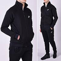 Утепленный мужской спортивный костюм / Трикотаж трехнитка - черный