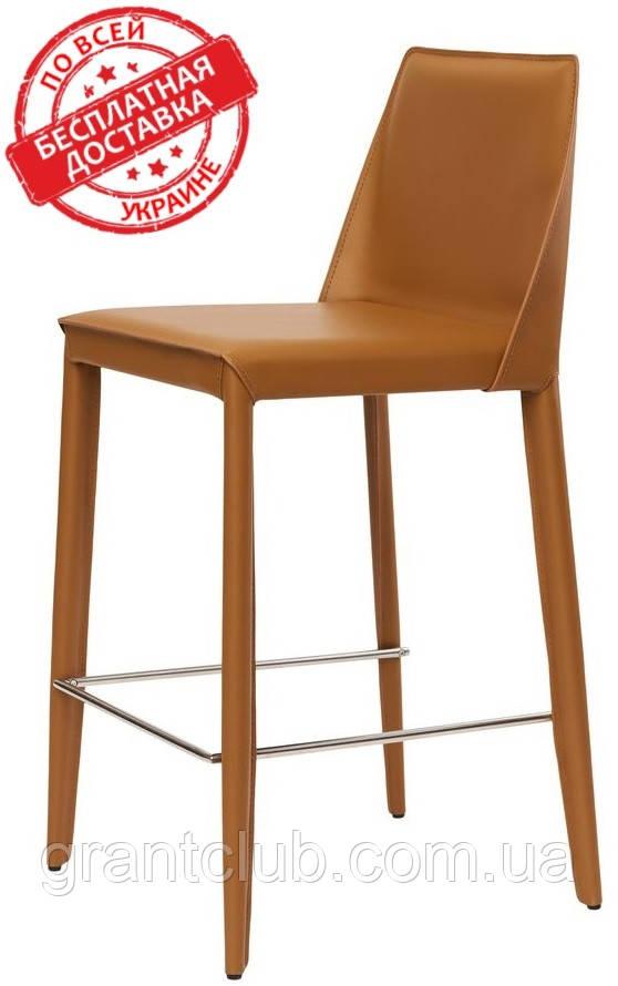Полубарный стул MARCO светло-коричневый кожа (бесплатная доставка)