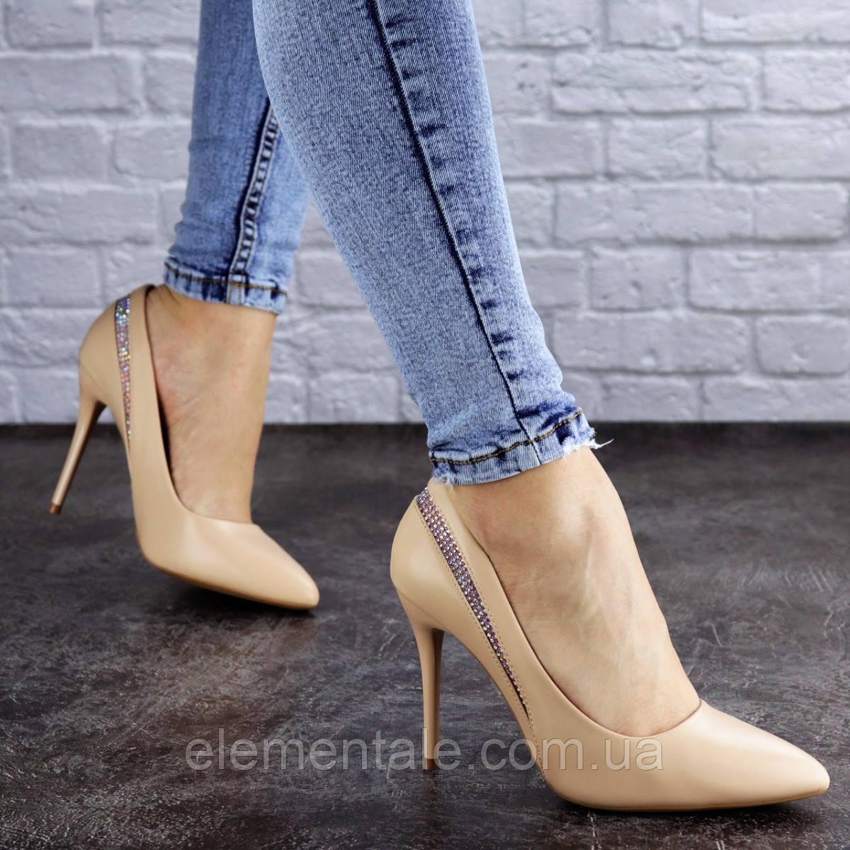 Женские туфли лодочки на шпильке 38 размер 24,5 см Бежевые