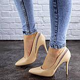 Женские туфли лодочки на шпильке 38 размер 24,5 см Бежевые, фото 4