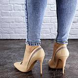Женские туфли лодочки на шпильке 38 размер 24,5 см Бежевые, фото 6