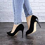 Женские туфли на каблуке 36 размер 23,5 см Черные, фото 9