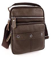 Мужская кожаная сумка через плечо коричневая Tiding Bag M78-292В