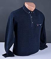 Мужской свитер большого размера | мужской джемпер с воротником синий Турция 034 Б