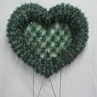 Сердце В 50 венок ритуальный 80х95+нога 40см