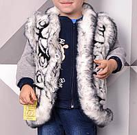 Жилетка детская для девочек Кролик 2-9 лет из овчины с карманами