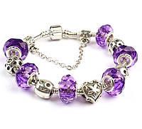 Браслет Pandora Style с фиолетовыми бусинами