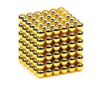 Неокуб Магнитный конструктор головоломка NeoCube 216 шариков по 5 мм золото