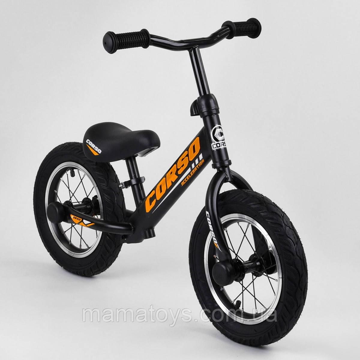 Велобег 69280 CORSO Acceleration Черный Беговел стальная рама, Алюминиевый диск, колеса 12 дюймов Надувные
