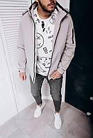 Серая мужская куртка ветровка с капюшоном на молнии ( осень весна ) мужские куртки ветровки весенние Турция