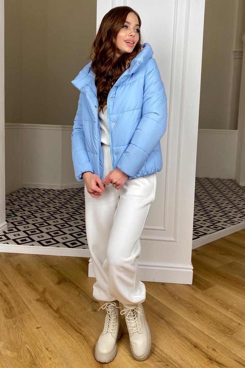 Демисезонная молодежная куртка голубого цвета Рито 10443