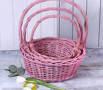 Набір кошиків з лози ,рожевий. 3 шт