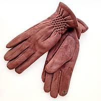 Жіночі замшеві рукавички з сенсорним пальцем на хутрі коричневі