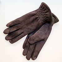 Жіночі замшеві рукавички з сенсорним пальцем на хутрі чорні