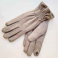 Жіночі замшеві рукавички з сенсорним пальцем на хутрі сірі