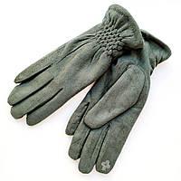 Жіночі замшеві рукавички з сенсорним пальцем на хутрі зелені
