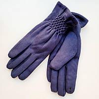 Жіночі замшеві рукавички з сенсорним пальцем на хутрі сині