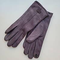 Жіночі замшеві рукавички з сенсорним пальцем на хутрі темно-сірі