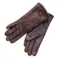 Жіночі замшеві рукавички з сенсорним пальцем на хутрі черні