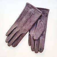 Жіночі замшеві рукавички з сенсорним пальцем темно-сірі