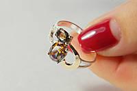 Серебряное необычное кольцо с фианитом раухтопаз