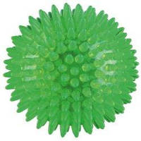 Мяч игольчатый Trixie термопластрезиновый светящийся 5см