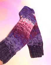 Варежки женские шерстяные ручной работы, теплые варежки цветные Hand Made