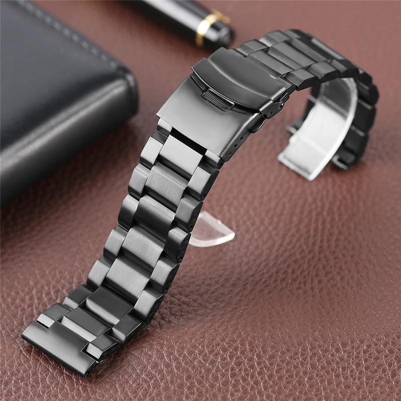 Браслет для часов из нержавеющей стали, литой, матовый. Черный. 22 мм. Hexad