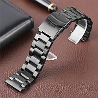Браслет для часов из нержавеющей стали, литой, матовый. Черный. 22 мм. Hexad, фото 1