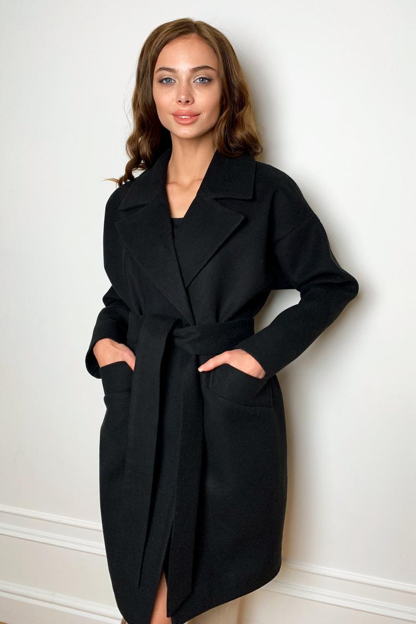 Демисезонное женское пальто черного цвета Сенсей 9767