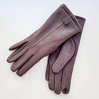 Жіночі рукавички фланель німецька шерсть з сенсорним пальцем на хутрі темно сірі