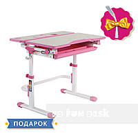 Растущая парта для девочки FunDesk Lavoro L Pink + настольная светодиодная лампа FunDesk L1