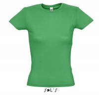 Молодёжная стильная футболка от компании Sols зеленого цвета приталенная