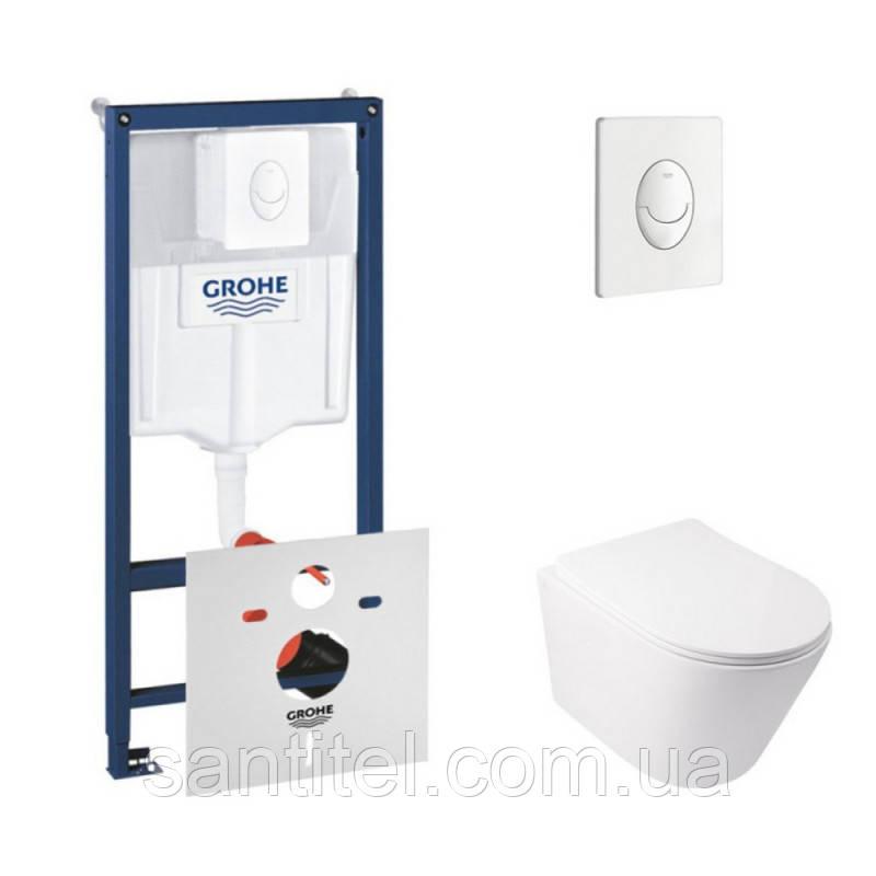 Набор инсталляция 4 в 1 Grohe Rapid SL 38722001 + унитаз с сиденьем Qtap Swan QT16335178W