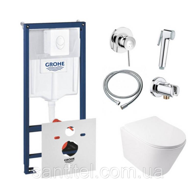 Комплект инсталляция Grohe Rapid SL 38722001 + унитаз с сиденьем Qtap Swan QT16335178W + набор для