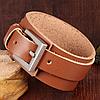 Кожаный широкий браслет на застежке, цвет коричневый