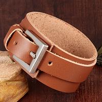 Кожаный широкий браслет на застежке, цвет коричневый, фото 1