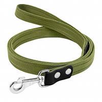 Поводок Брезент х/б тесьма со светоотражающей нитью для собак 20 мм, 200 см, зеленый