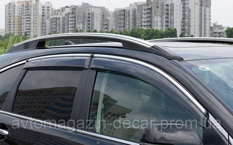 """Ветровики Ford Focus 05-11  SED П/K скотч  """"FLY"""" (с НЕРЖ-полосой)"""