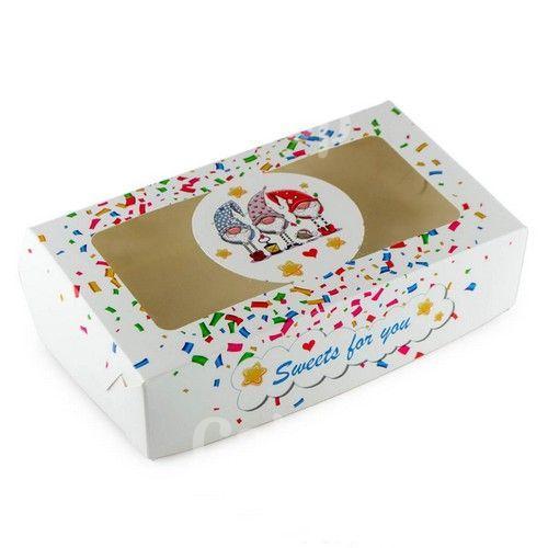 Коробка для эклеров, зефира Гномики Белая,  20х11,5х5 см