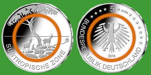 """Германия 5 евро 2018 г. """" Тропическая зона"""" , UNC №63"""