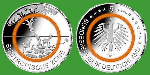 """Німеччина 5 євро 2018 р. """"Тропічна зона"""" , UNC №63"""