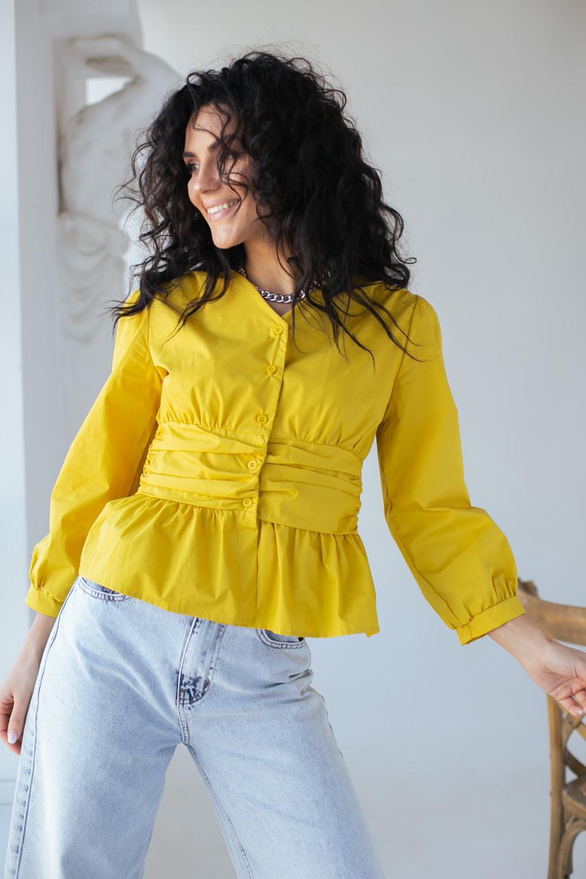 Необычная блуза с акцентированной талией и баской YI MEI SI - горчичный цвет, S (есть размеры)