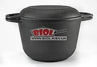 Кастрюля чугунная 3 л с чугунной крышкой сковородкой БИОЛ 0203. Чугунная посуда Биол