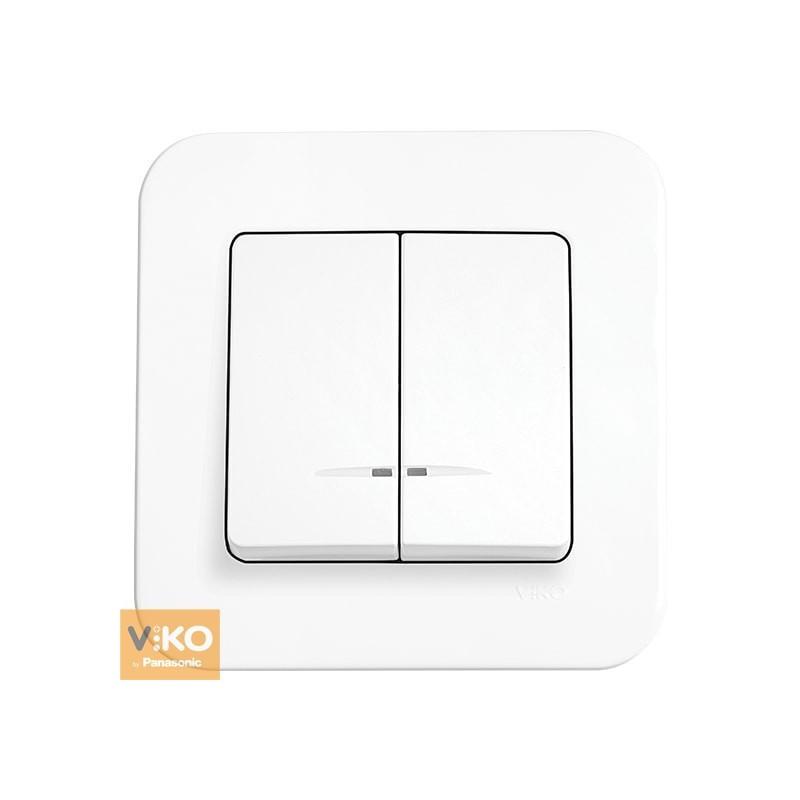 Вимикач двоклавішний з підсвічуванням VIKO Rollina - Білий